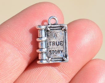 """5  Silver """"A True Story"""" Book Charms SC1435"""