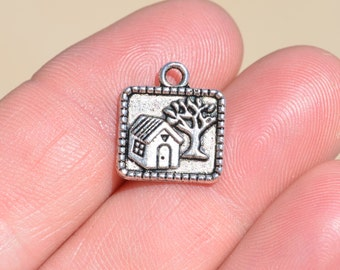 5 Silver House Charms SC3089