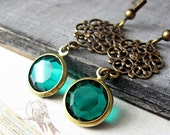 Emerald Green Vintage Glass Charm Earrings, Antiqued Bronze Filigree, Romantic Victorian