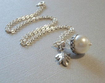 Pearl Acorn Necklace Silver Acorn Necklace Acorn Pendant Jewelry Bridesmaid Necklace  White Acorn Necklace Summer Jewelry