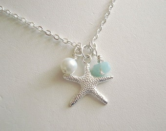 Starfish Necklace Silver Starfish Necklace Bridesmaid Necklace Pearl Necklace Beach Jewelry