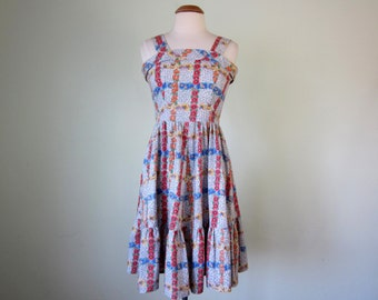 70s sundress / floral print cotton sleeveless fitted waist summer dress (xs - s)