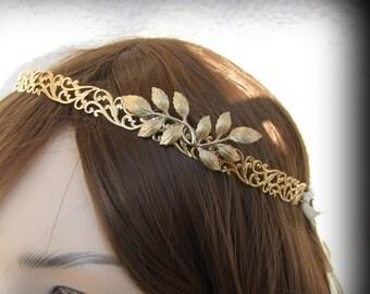 20% OFF, Bridal Headband, Gold Hair Piece, Great Gatsby Headband, Greek Goddess Headband, Wedding Hair Accessories