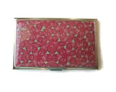 Business Card Case, Credit Card Case, Metal Card Case with Pink Flowery Design