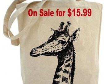 Recycled Tote- Giraffe tote bag - Canvas tote bag