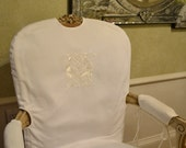 EMBROIDERED CHAIR BACK - Custom Exclusive Design - Embroidered on Back or Dining Room Chairs Slipcovers