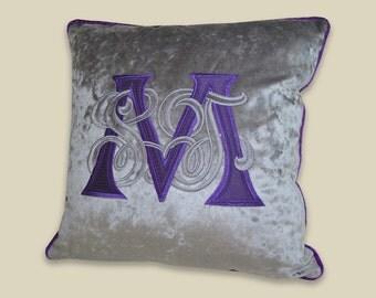 monogram pillow applique silk velvet purple grey throw pillow custom design luxury