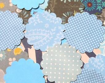 DESTASH - 25 Assorted Blue 2 inch Scallop Circle Embellishments