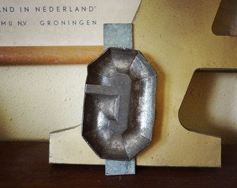 vintage chocolate mold letter G, metal alphabet letter from Holland with great patina