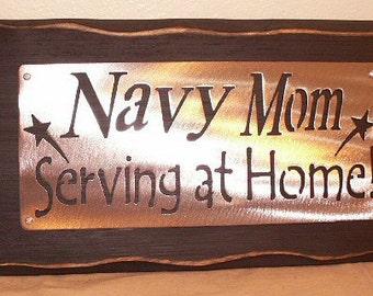 NAVY MOM- Serving at home sign shelf sitter peice Elegant Home decor
