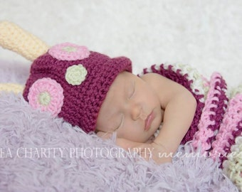 On Sale Pink Caterpillar Photo Prop Costume, Newborn Baby Girl Halloween Costume