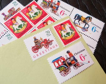 Christmas .. Antique Toys .. UNused Vintage Postage Stamps  .. post 5 letters