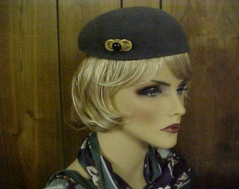 Slate grey imported fur hat with side brooch- made in France