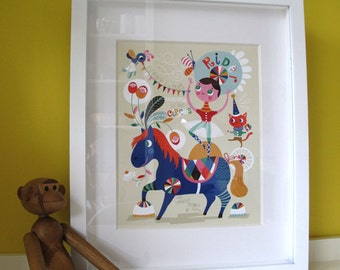 Pretty Little Circus ... limited edition giclee print of an original illustration (8 x 10 in)