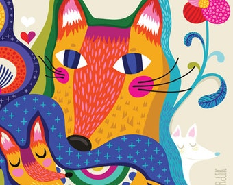 Wild Foxy Darling - limited edition giclee print of an original illustration (8 x 10 in)
