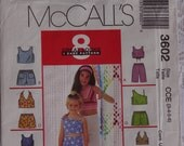 McCalls 3602 Sewing Pattern/Children's Girls' Tops, Shorts, Summer Tops and Pull On Shorts Pattern  Size 3, 4, 5, 6