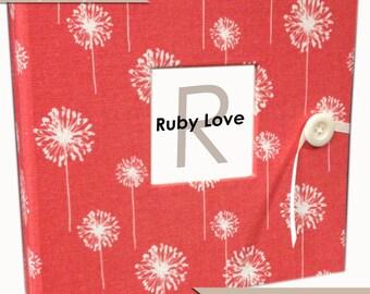BABY BOOK | Coral Dandelions Album | Ruby Love Modern Baby Book