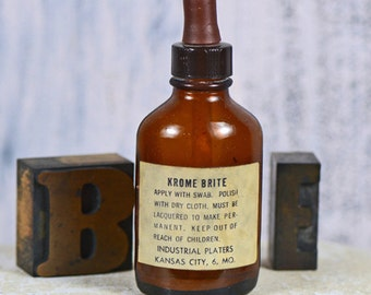 KROME BRITE...  antique medical amber bottle c. 1965...  Keep Out of Reach of Children...  display...   home decor...    t  14 L