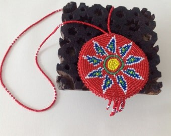 RED and BLUE Beaded MEDALLION Necklace