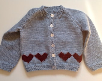 Light Blue Baby Cardigan with Maroon Hearts 9 months