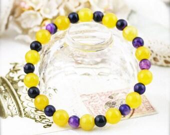 Positive and generosity  (unisex) bracelet -  jade and botswana agate