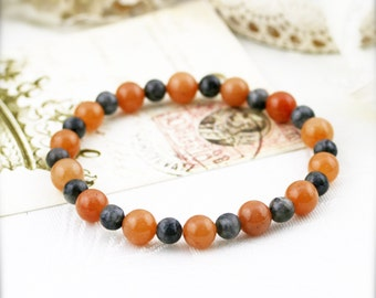 Vitality and purify (unisex) bracelet - red aventurine and labradorite