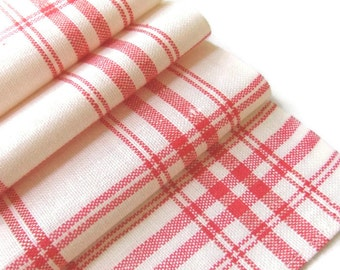 Linen Towel Woven Stripes Retro Red Kitchen Czech