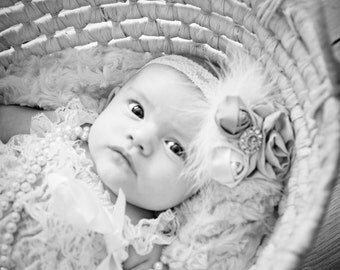 Shabby Chic and Lace Headband very soft, Baby, Toddler, Child,Teen, Adult sizing, Photo Prop, Christening,Coulture