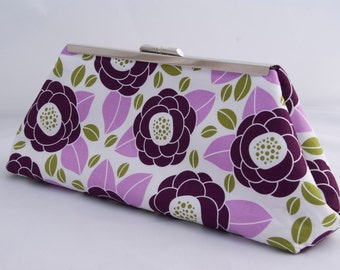 Plum Dark Purple Floral Clutch Handbag perfect for wedding party gift or holiday gift
