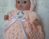 Knitting Pattern Itty Bitty Baby Dolls Lattice Lace Dress Bonnet Set Berenguer baby dolls pdf download doll clothes