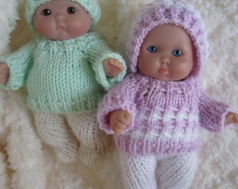 Doll Clothing Knit Pattern Berenguer Baby Doll Boy and Girl Sweater with Leggings Set fits the 5 inch doll knitting pattern instant download