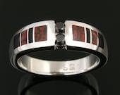 Dinosaur Bone Wedding Ring with Black Diamonds and Onyx Accents