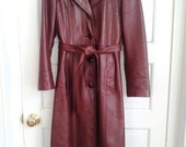 SALE! Vintage 1970's Burgundy Buttery Leather Full Length Trench Coat