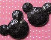 4 sequin padded Mouse head appliques embellishments Mickey EM-03-1