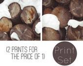 2 PIECE SET. Winter print, photo, snow, simple white, frosty, logs, yule log, christmas, seasonal, fine art photograph