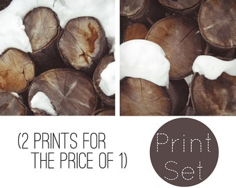 2 PIECE SET. Winter print, photo, snow, simple white, frosty, logs, yule log, christmas, seasonal, fine art photograph