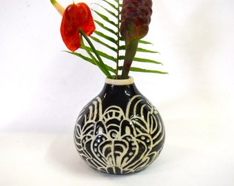 Black and White Hand Carved Stoneware Jug/vase
