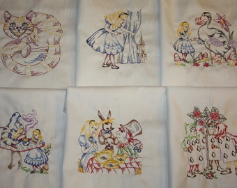 Alice in Wonderland Machine Embroidered Quilt Blocks Set B