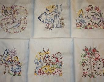Alice in Wonderland Machine Embroidered Quilt Blocks Set B