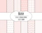 Blush Pink Digital Scrapbook Paper 12x12 Pack - Set of 12 - Polka Dots, Chevron, Gingham - Instant Download - Item# 8065