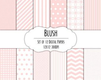 Blush Pink Digital Scrapbook Paper 12x12 Pack - Set of 12 - Polka Dots, Chevron, Gingham - Instant Download - Item# 8065