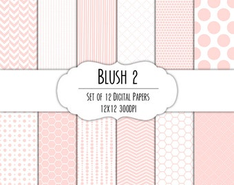 Blush Pink 2 Digital Scrapbook Paper 12x12 Pack - Set of 12 - Polka Dots, Chevron, Hexagon - Instant Download - Item# 8082