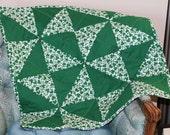 SALE Baby Quilt Stroller Blanket Wall Hanging St. Patricks Day Shamrock