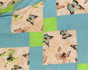 CLEARANCE Shuffled Nine Square Quilt Lap Butterfly