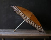 Vintage Umbrella Collapsible Multi Color Orange Brown White From Nowvintage on Etsy