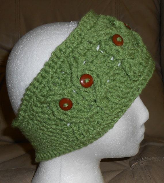 Knitted Headband Ear Warmer Hoot Owl Sage