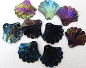 Vintage Sequins Black AB Aurora Borealis Shell Fan Plastic 16mm sqs0062 (12)