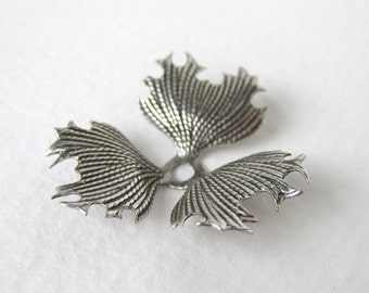 Vintage Style Flower Stamping Leaves Antiqued Silver Ox Layer 28mm stp0081 (2)