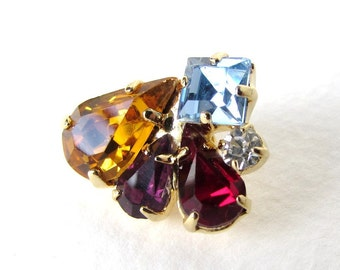 Vintage Rhinestone Buttons Sapphire Topaz Ruby Amethyst Clear Pear Gold Metal Shank Czech 20mm but0231 (1)