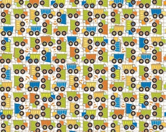 """Riley Blake Designs """"On The Go"""" by Bo Bunny, Small Dump Trucks on White background"""